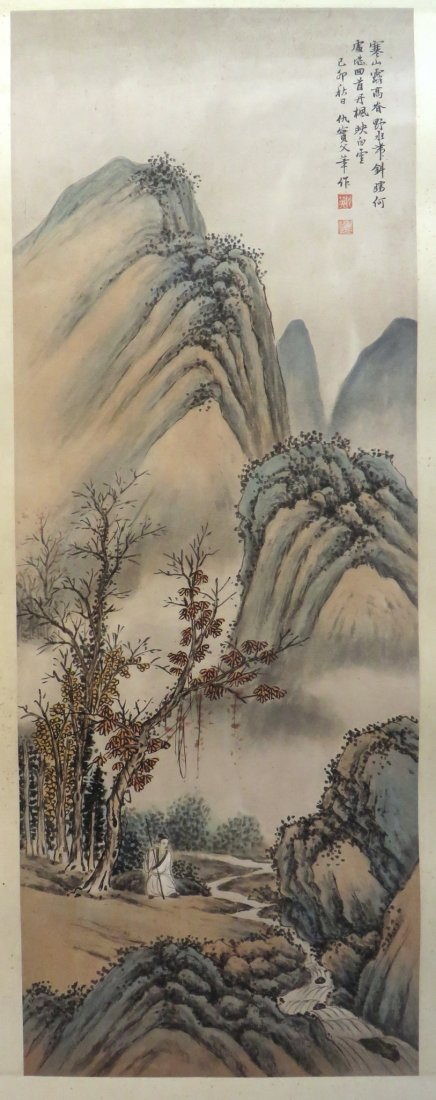CHINESE PAINTING OF A MOUNTAIN SCENE