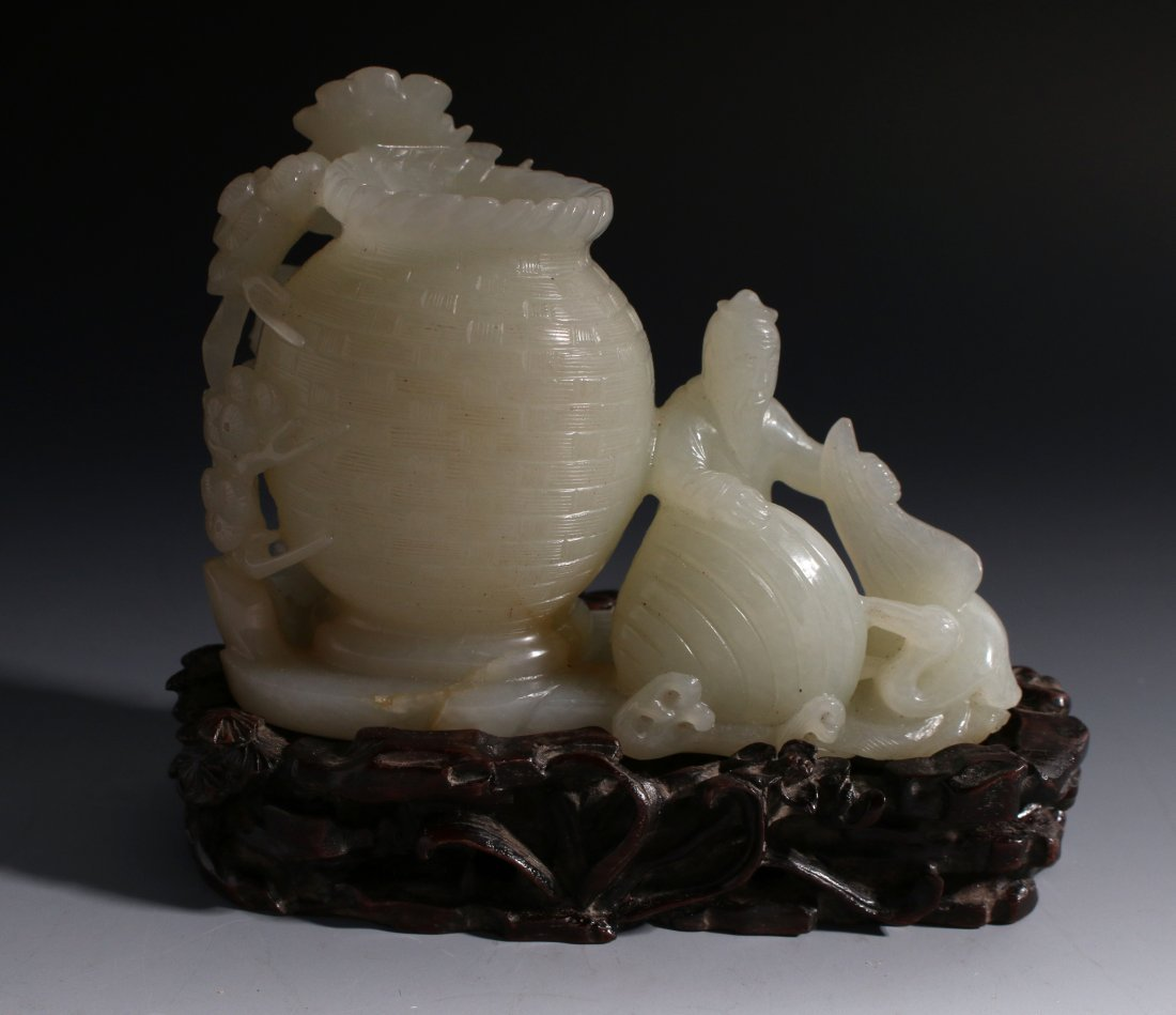 CHINESE WHITE JADE INKWELL ON STAND