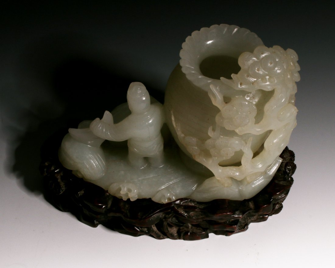 CHINESE WHITE JADE INKWELL ON STAND - 2