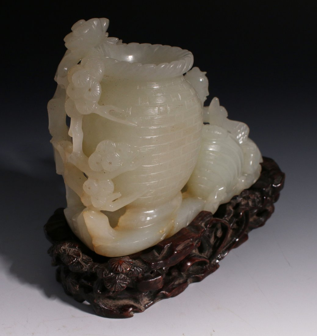 CHINESE WHITE JADE INKWELL ON STAND - 4