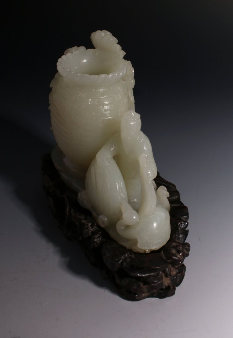 CHINESE WHITE JADE INKWELL ON STAND - 5