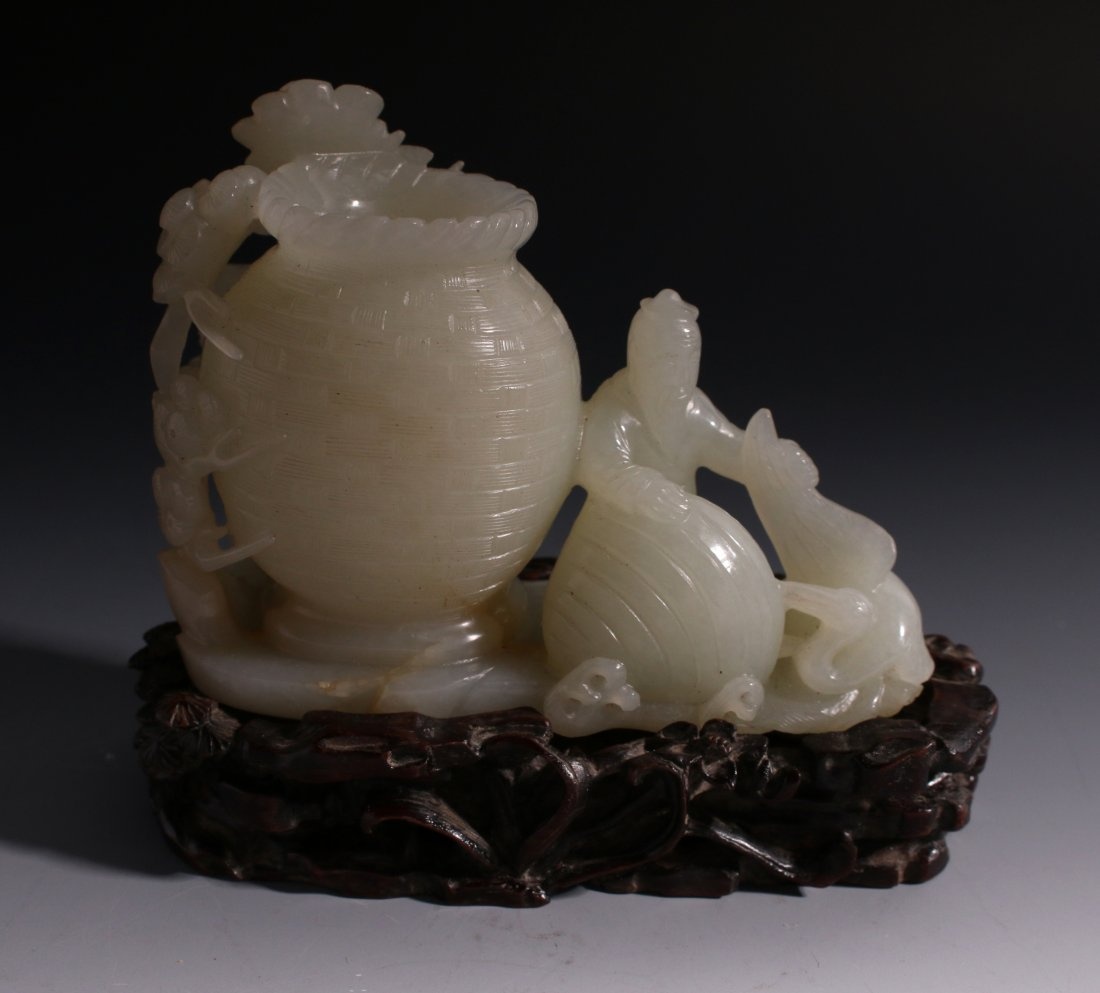 CHINESE WHITE JADE INKWELL ON STAND - 7