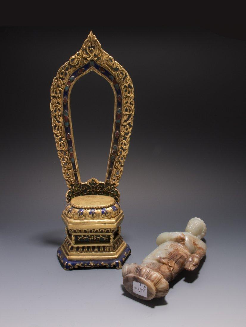 CHINESE JADE BUDDHA WITH A GILT BRONZE SHRINE - 5