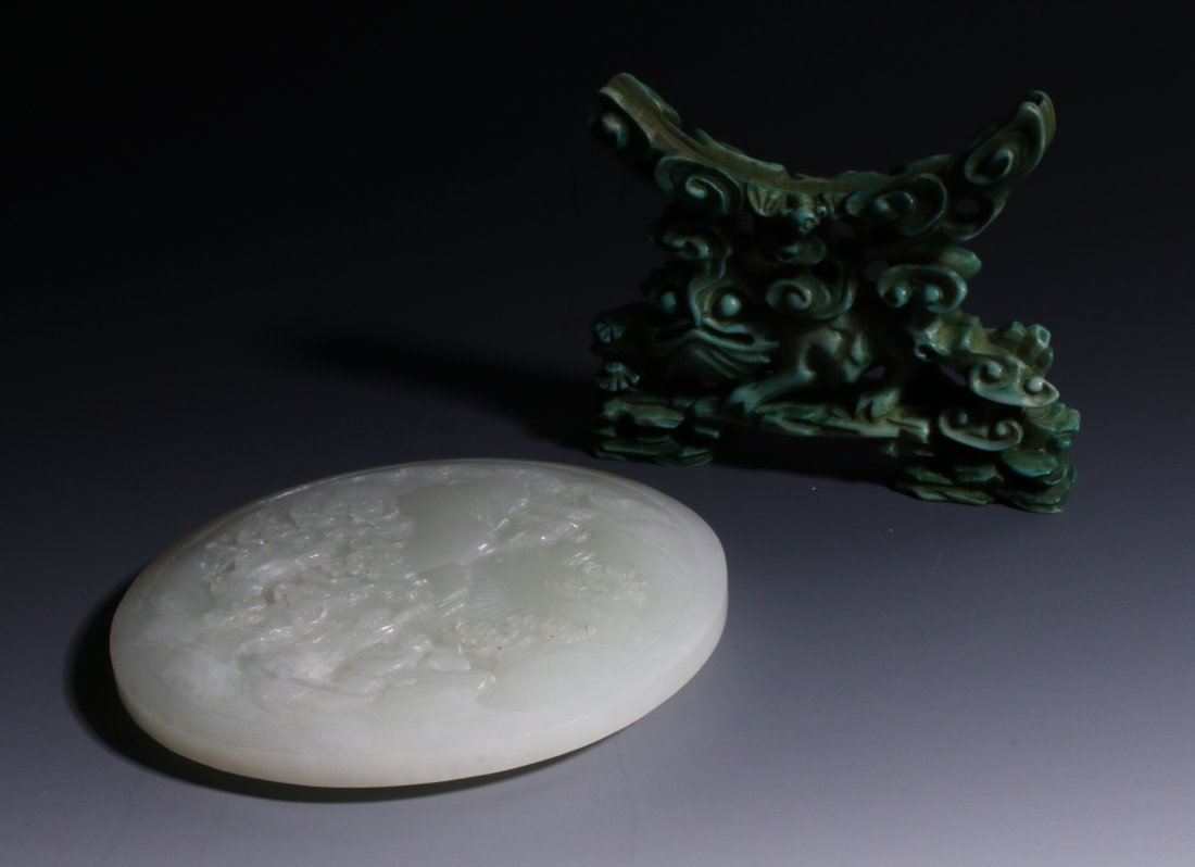 CHINESE JADE SCREEN ON TURQUOISE STAND - 10