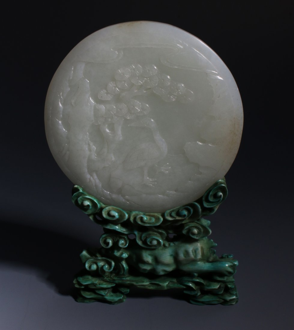 CHINESE JADE SCREEN ON TURQUOISE STAND - 4
