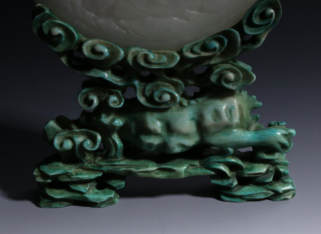 CHINESE JADE SCREEN ON TURQUOISE STAND - 7