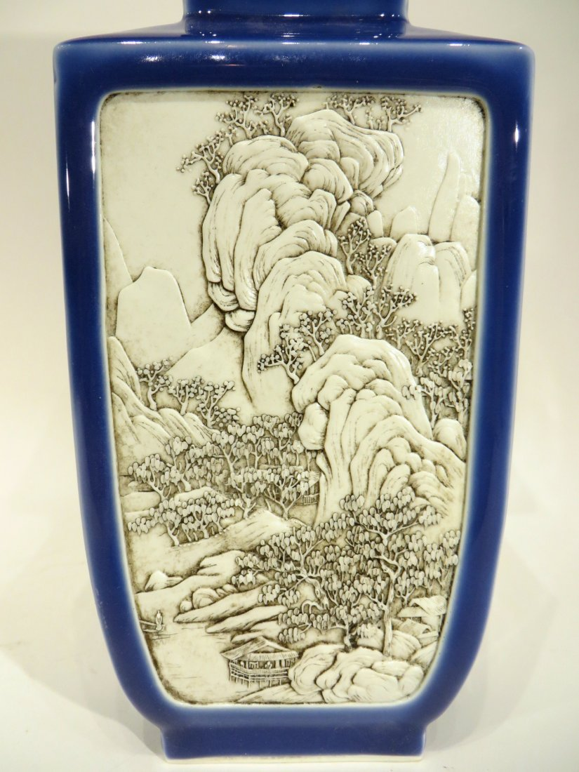 WANG BING RONG CARVED BLUE & WHITE VASE - 3