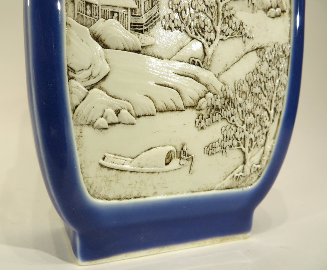 WANG BING RONG CARVED BLUE & WHITE VASE - 4