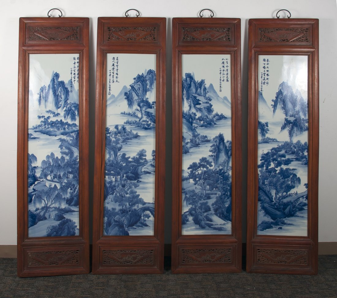 FOUR CHINESE 20TH C FRAMED PORCELAIN PAINTINGS
