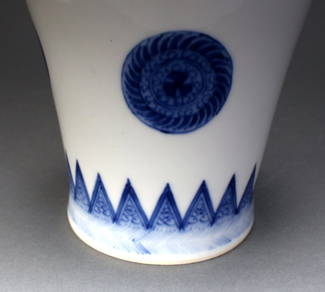 CHINESE KANGXI MARKED BLUE AND WHITE BOTTLE VASE - 5