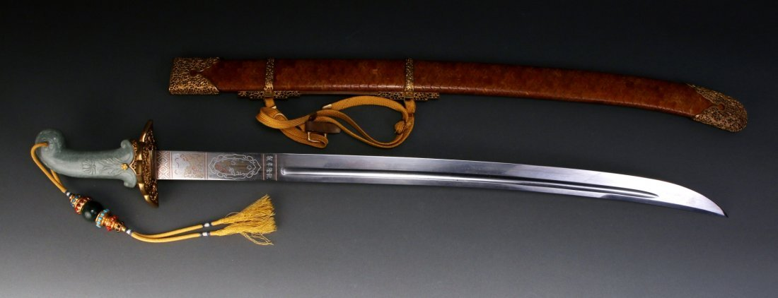 CHINESE QIAN LONG SWORD WITH JADE HILT