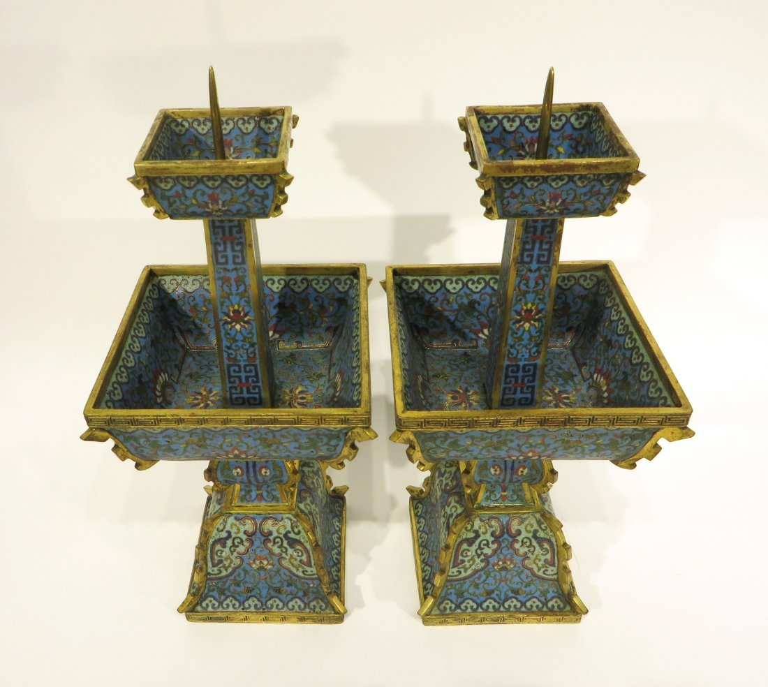 PAIR OF CHINESE CLOISONNE CANDLE STANDS - 3
