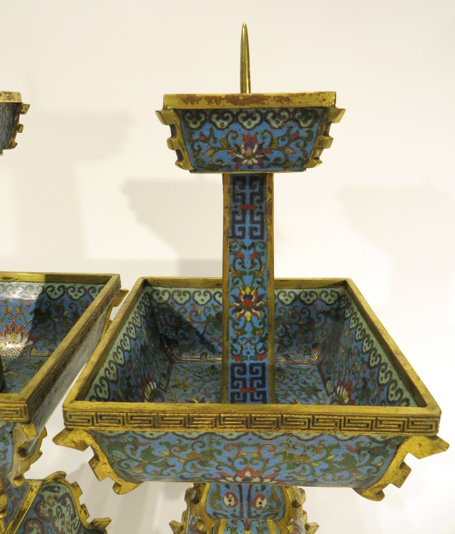 PAIR OF CHINESE CLOISONNE CANDLE STANDS - 4