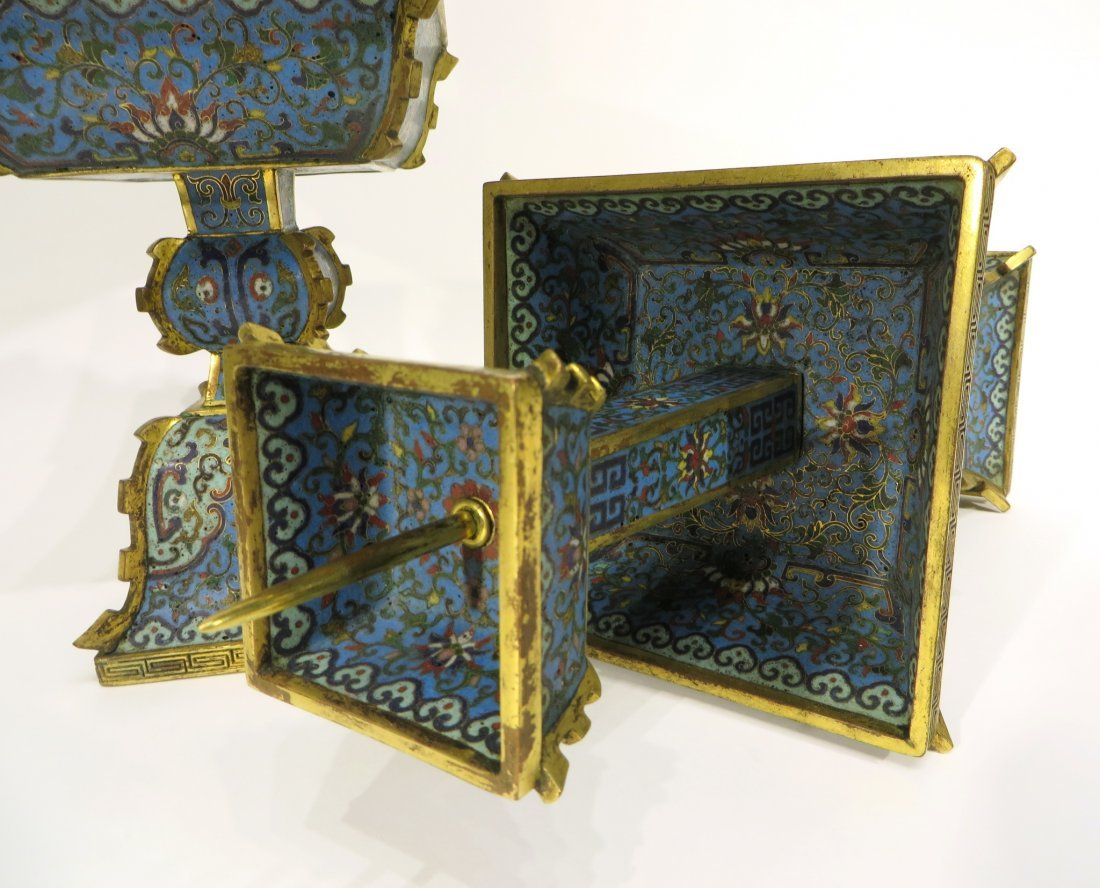 PAIR OF CHINESE CLOISONNE CANDLE STANDS - 5