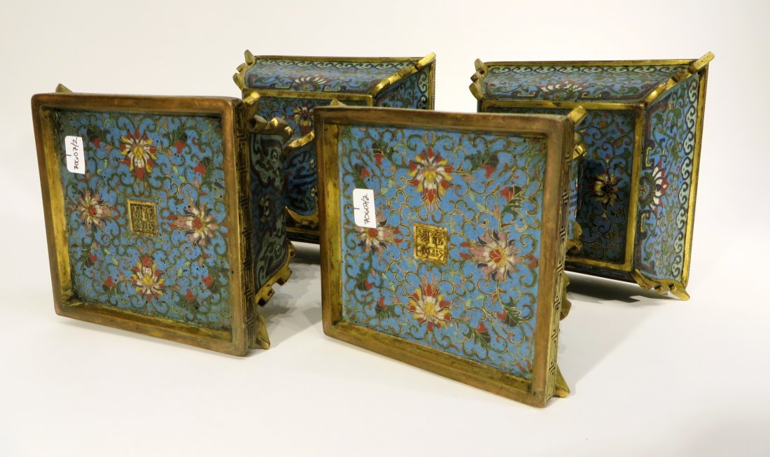 PAIR OF CHINESE CLOISONNE CANDLE STANDS - 7