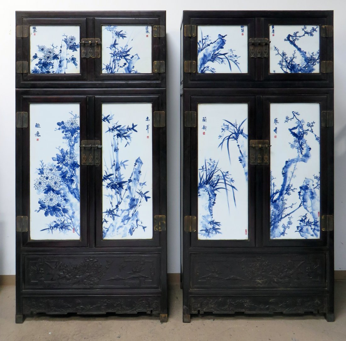 UNIQUE CHINESE ZITAN & PORCELAIN WARDROBES
