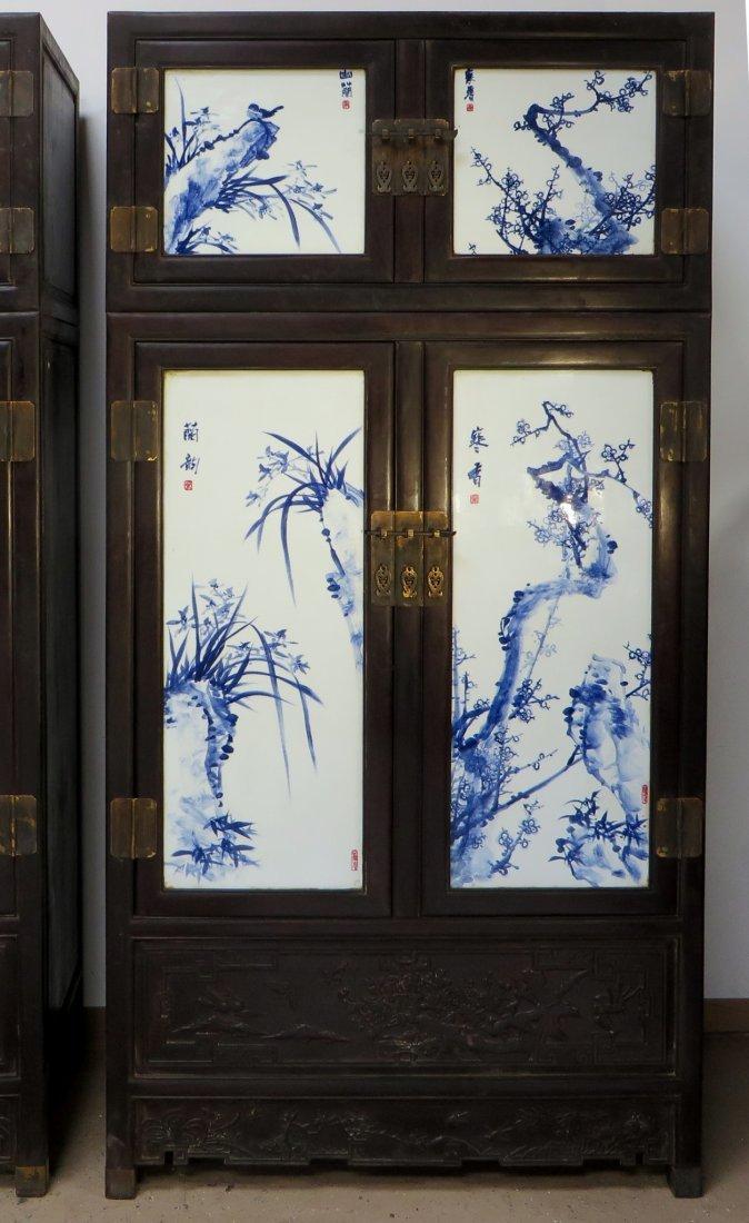 UNIQUE CHINESE ZITAN & PORCELAIN WARDROBES - 2