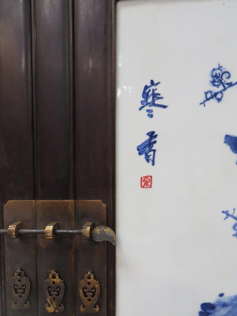 UNIQUE CHINESE ZITAN & PORCELAIN WARDROBES - 4