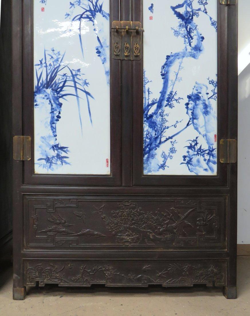 UNIQUE CHINESE ZITAN & PORCELAIN WARDROBES - 8