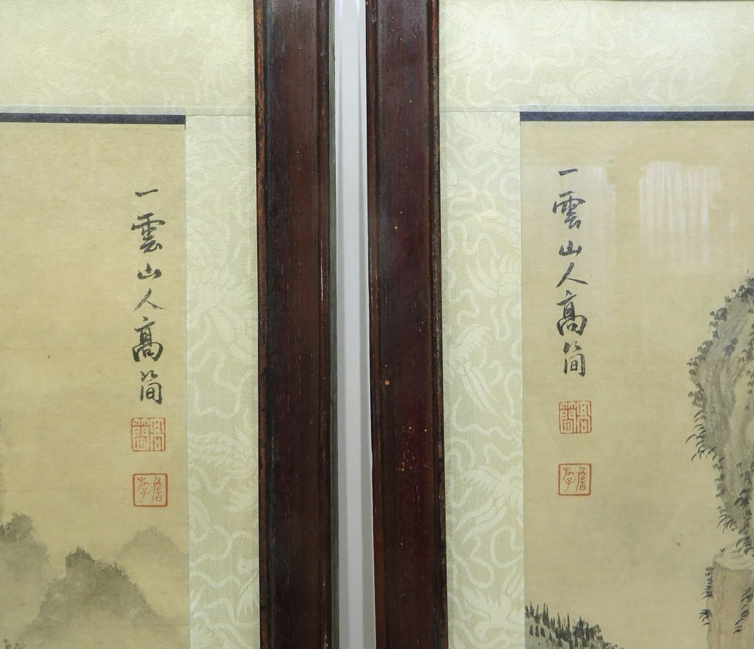 PAIR OF CHINESE FRAMED SCROLL PAINTINGS - 2