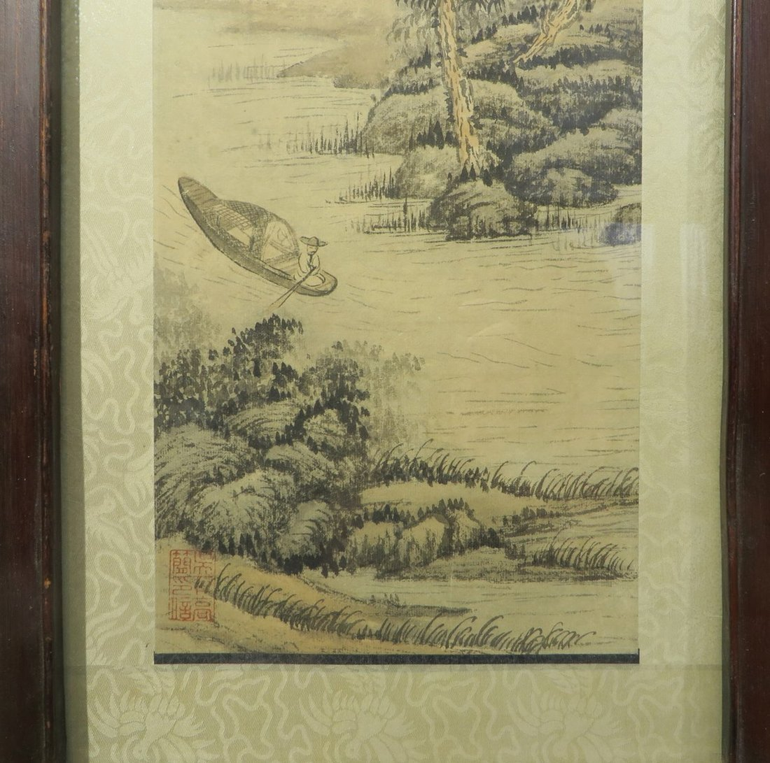 PAIR OF CHINESE FRAMED SCROLL PAINTINGS - 3