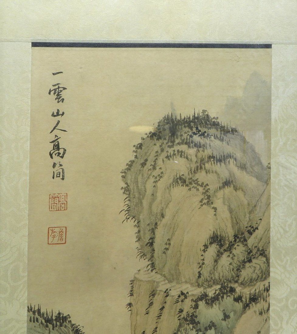 PAIR OF CHINESE FRAMED SCROLL PAINTINGS - 5
