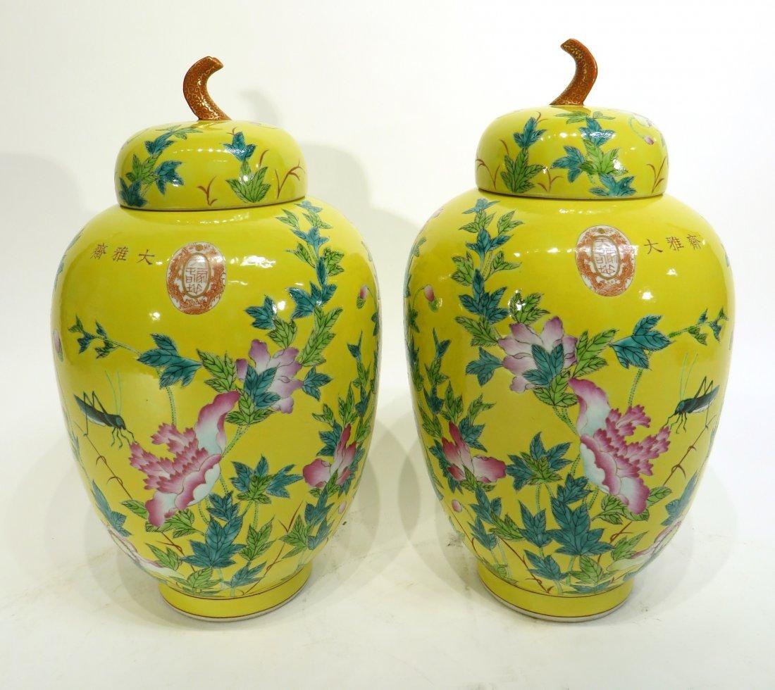CHINESE PAIR OF 19TH C FAMILLE JAUNE JARS