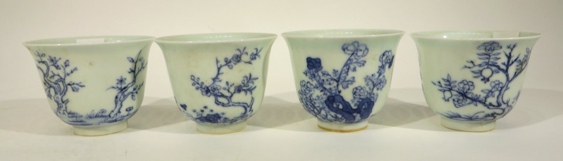 CHINESE FOUR KANG XI MARKED TEA CUPS