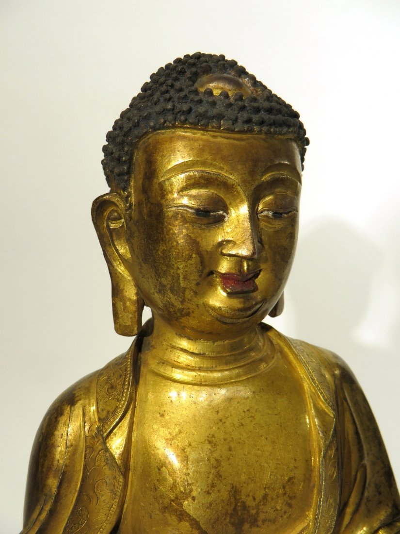 CHINESE QING DYNASTY GILT BRONZE BUDDHA - 2