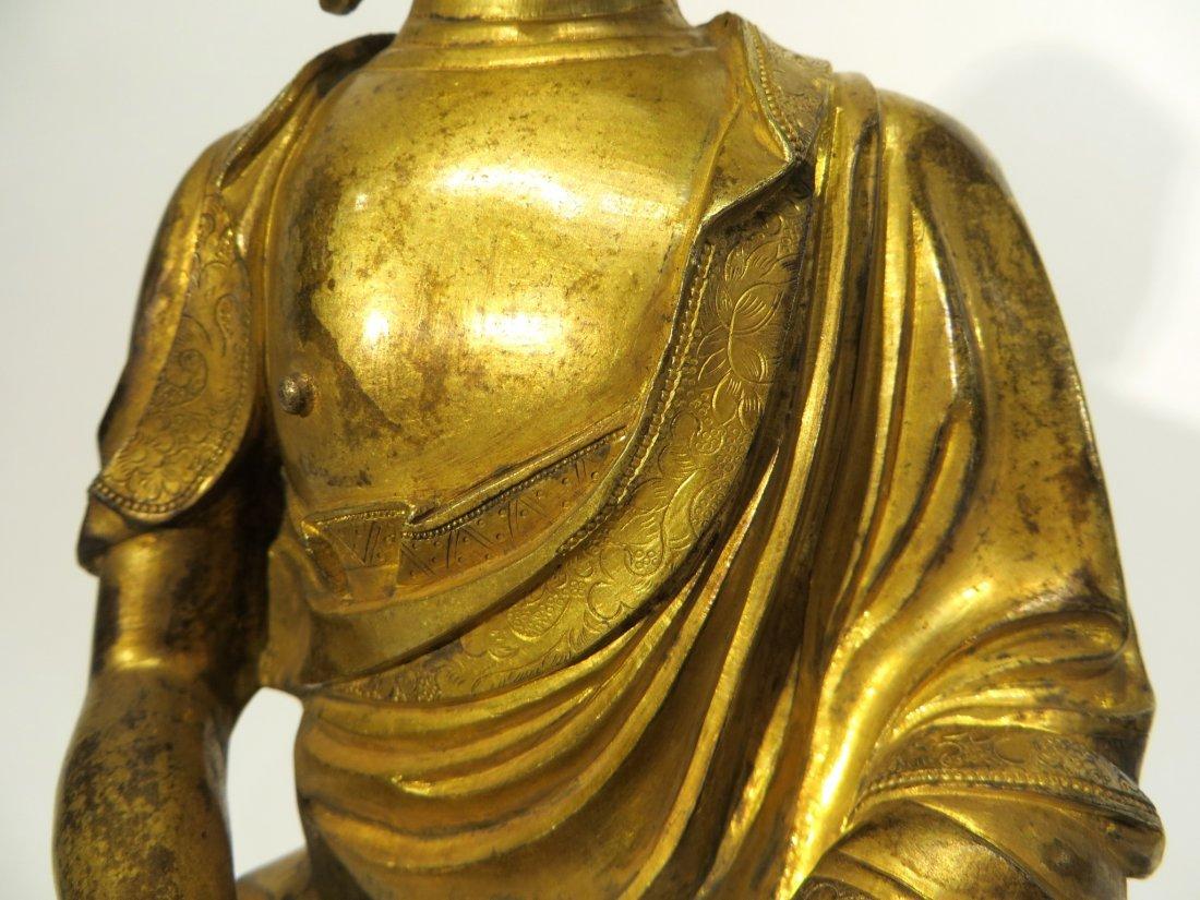 CHINESE QING DYNASTY GILT BRONZE BUDDHA - 4