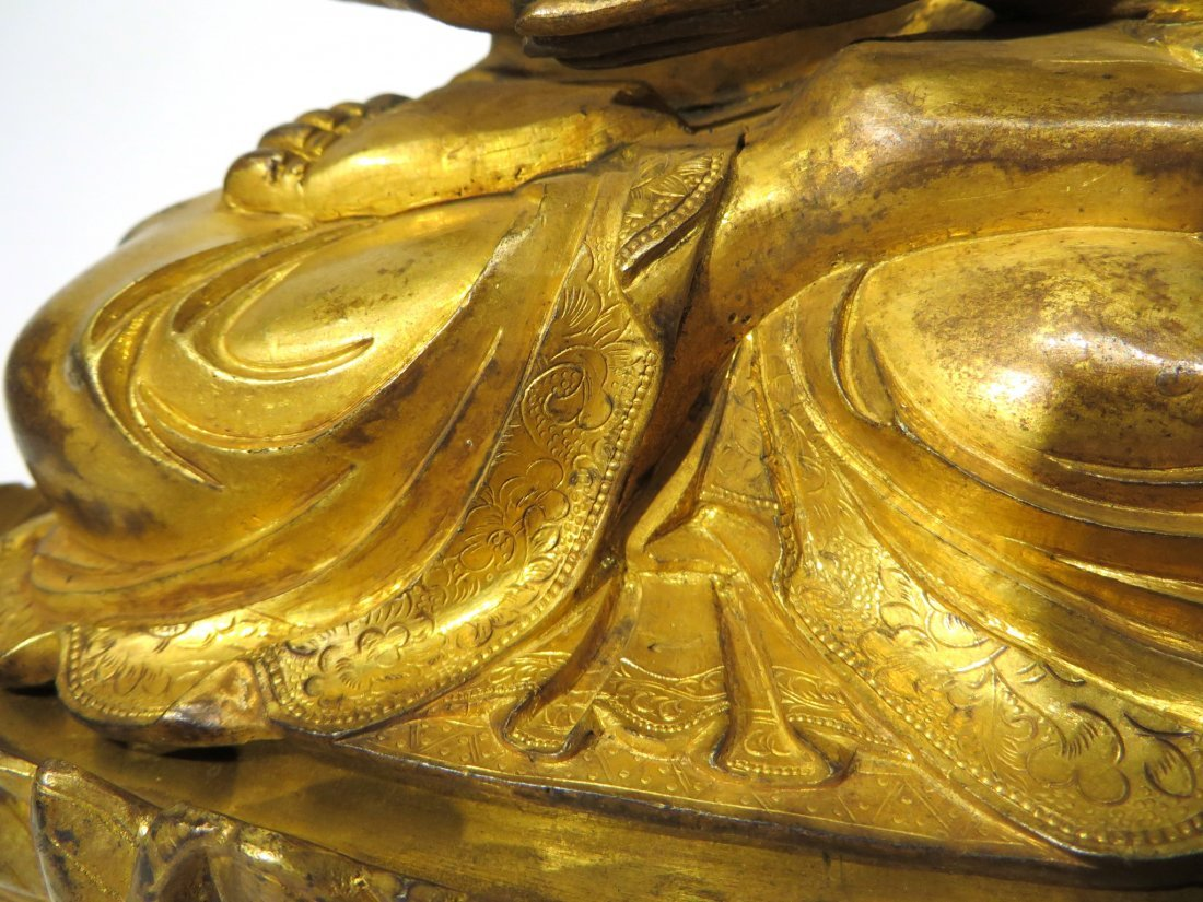 CHINESE QING DYNASTY GILT BRONZE BUDDHA - 5
