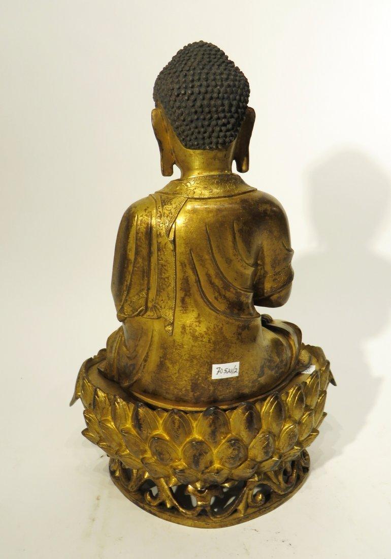 CHINESE QING DYNASTY GILT BRONZE BUDDHA - 7