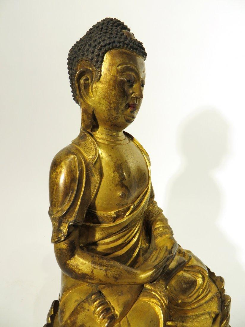 CHINESE QING DYNASTY GILT BRONZE BUDDHA - 8