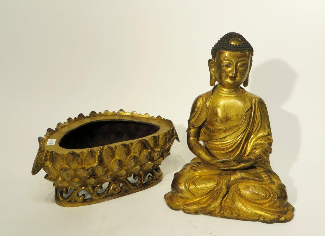 CHINESE QING DYNASTY GILT BRONZE BUDDHA - 9