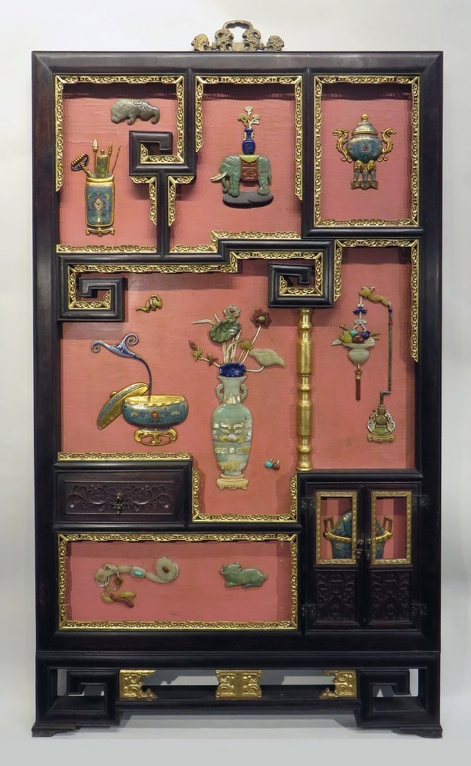 CHINESE ANTIQUE STONE, WOOD, ENAMEL TABLE SCREEN