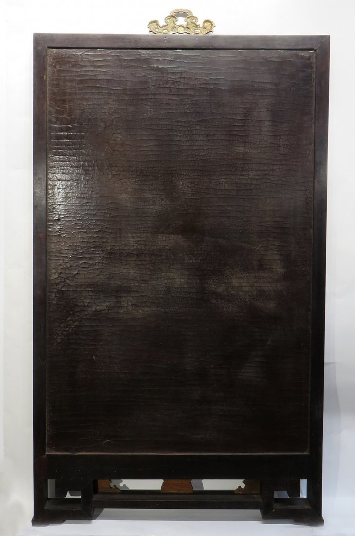 CHINESE ANTIQUE STONE, WOOD, ENAMEL TABLE SCREEN - 2