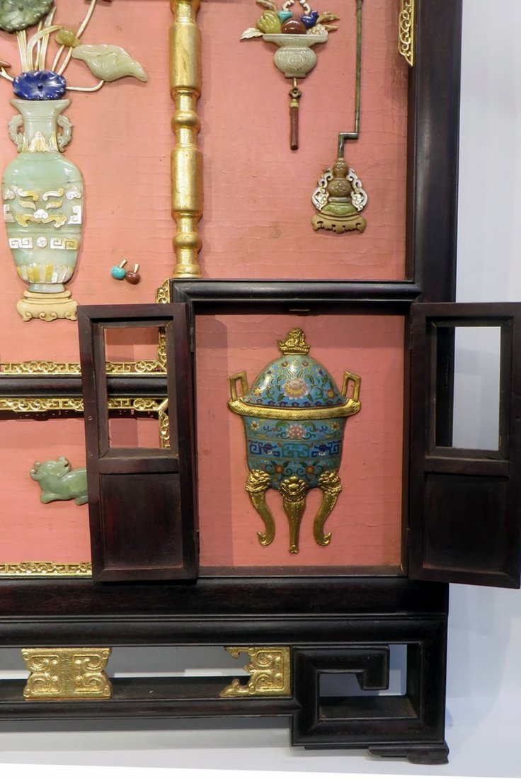 CHINESE ANTIQUE STONE, WOOD, ENAMEL TABLE SCREEN - 3