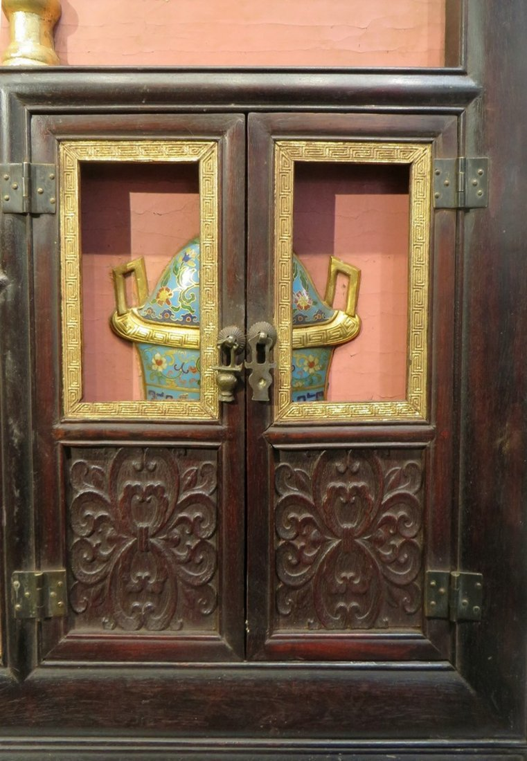 CHINESE ANTIQUE STONE, WOOD, ENAMEL TABLE SCREEN - 7