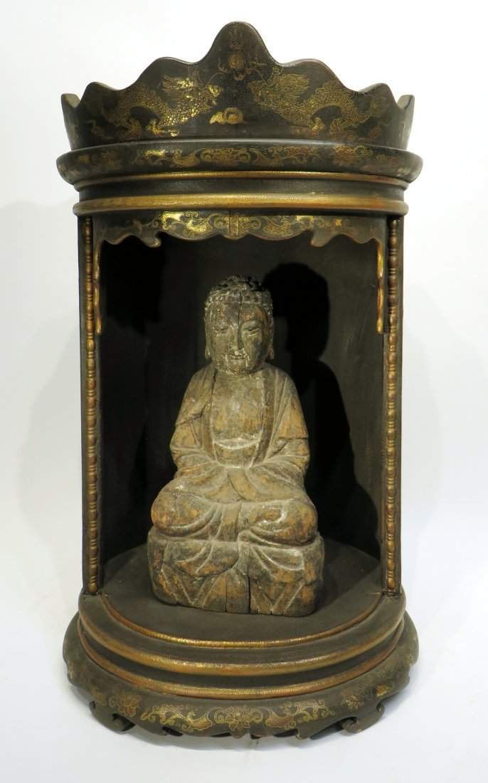 CHINESE MING DYNASTY WOODEN BUDDHA SHRINE