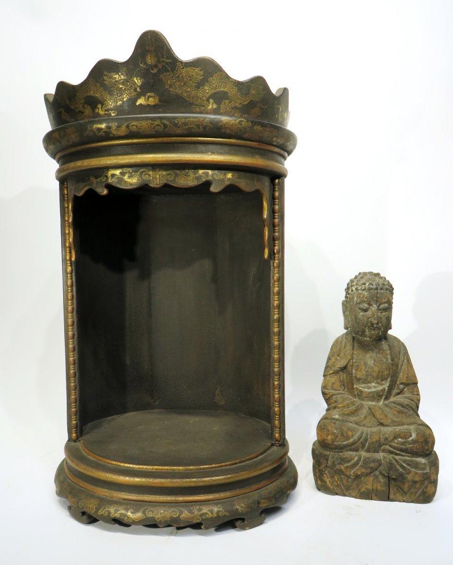 CHINESE MING DYNASTY WOODEN BUDDHA SHRINE - 3