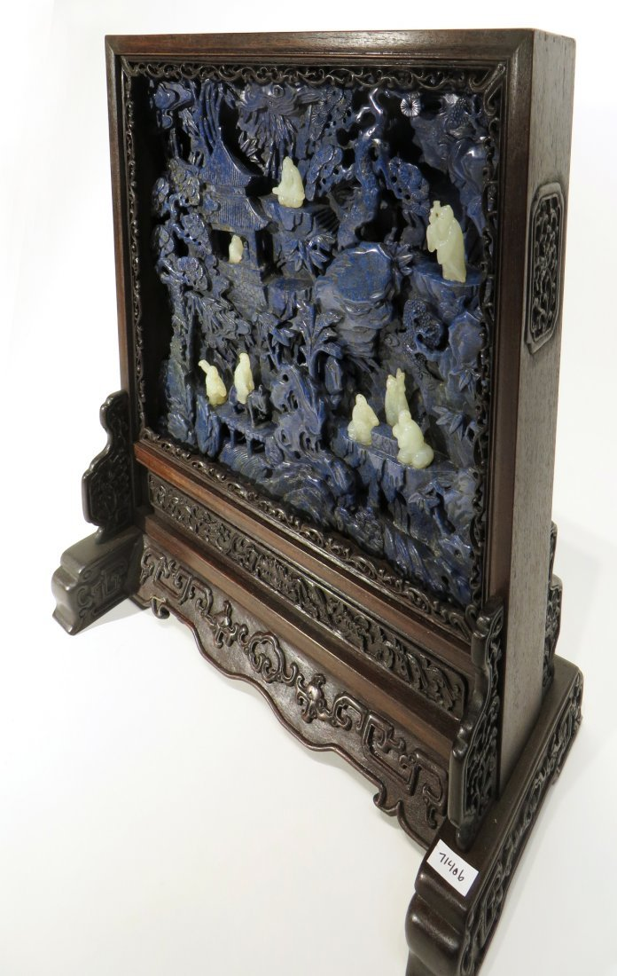 CARVED LAPIS LAZULI AND WHITE JADE TABLE SCREEN - 10