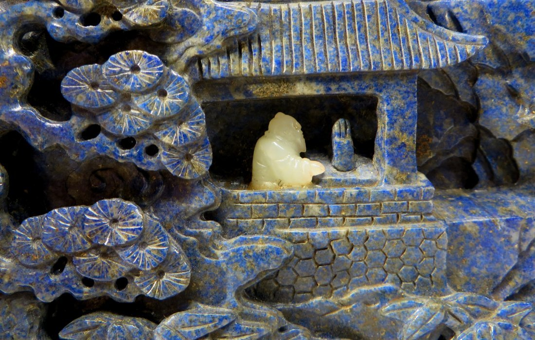 CARVED LAPIS LAZULI AND WHITE JADE TABLE SCREEN - 2