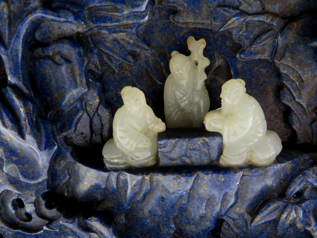 CARVED LAPIS LAZULI AND WHITE JADE TABLE SCREEN - 3