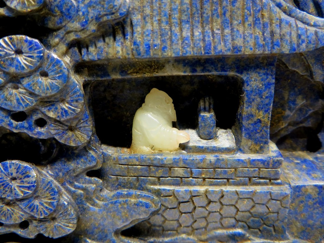 CARVED LAPIS LAZULI AND WHITE JADE TABLE SCREEN - 4