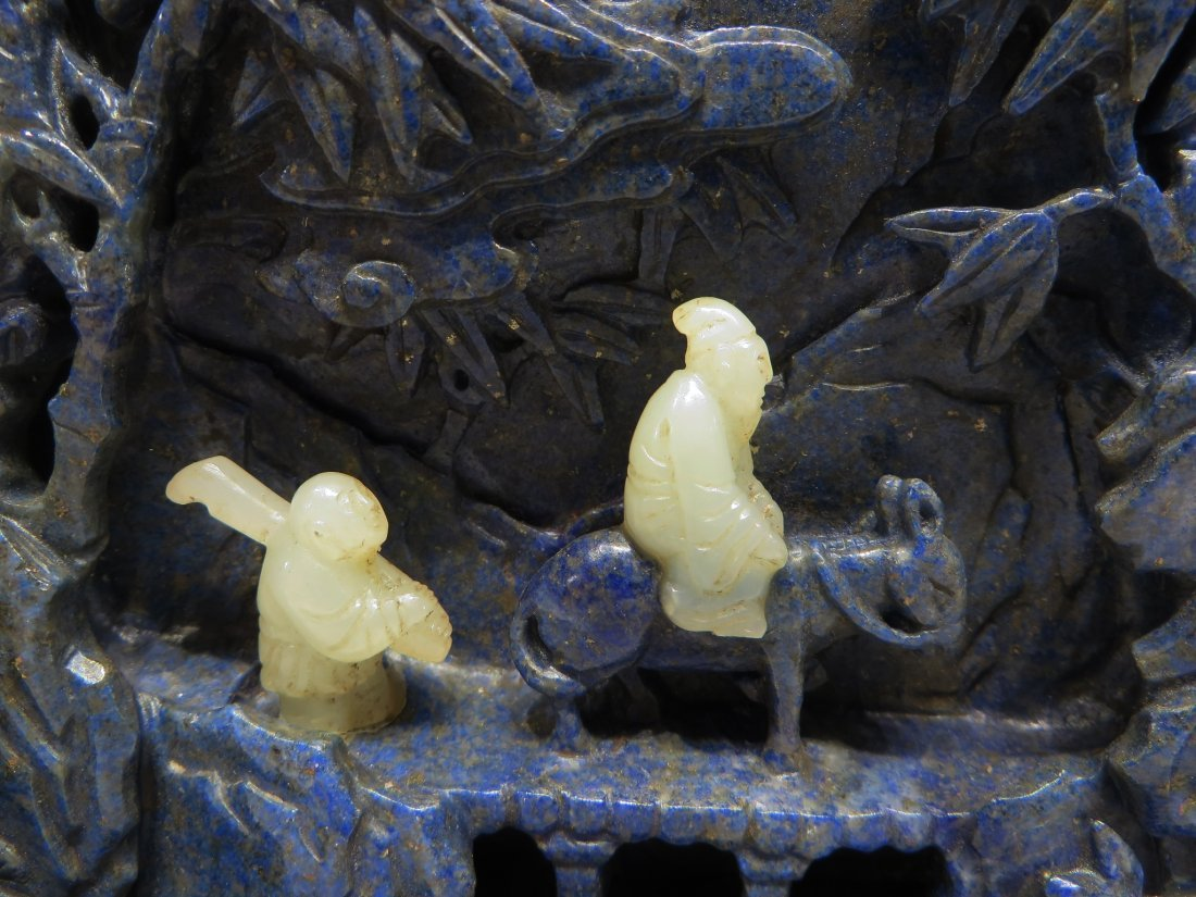 CARVED LAPIS LAZULI AND WHITE JADE TABLE SCREEN - 5