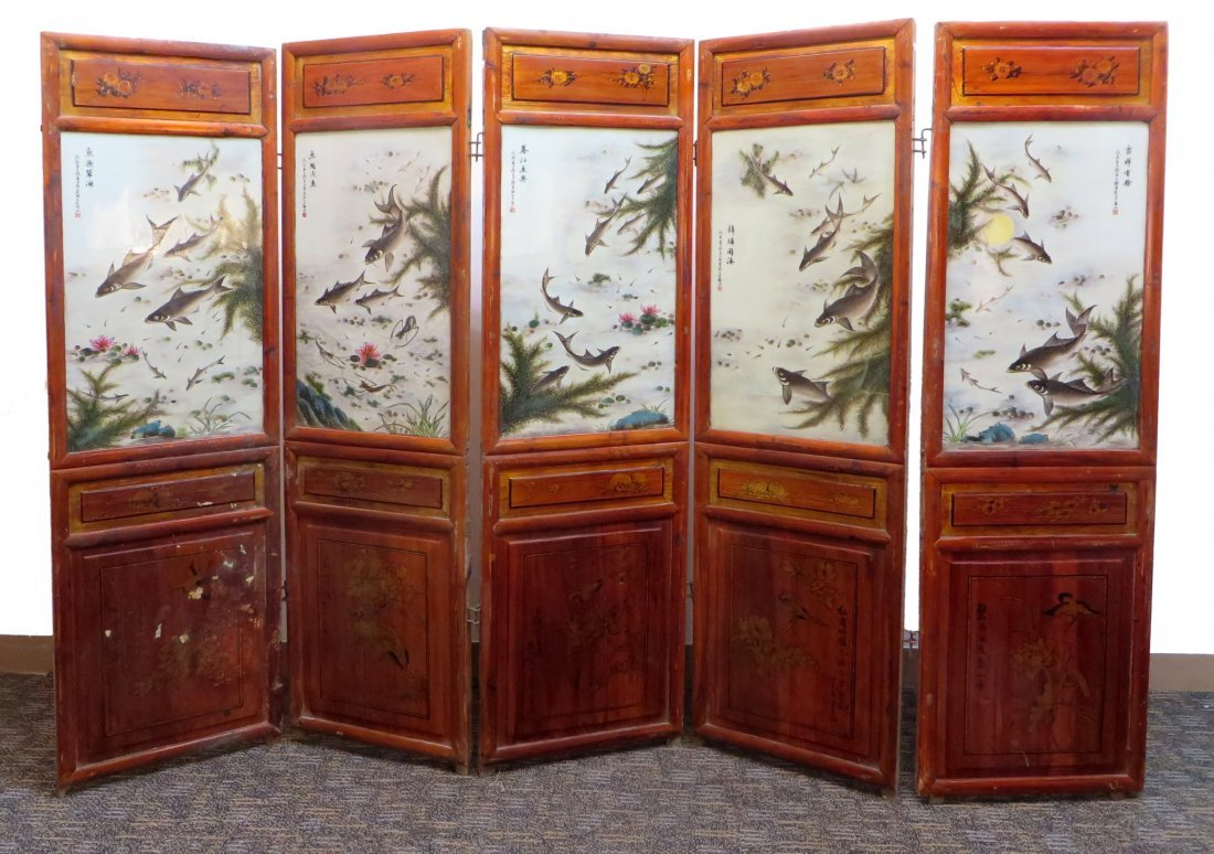 19TH C CHINESE FLOOR SCREEN WITH PORCELAIN PANELS