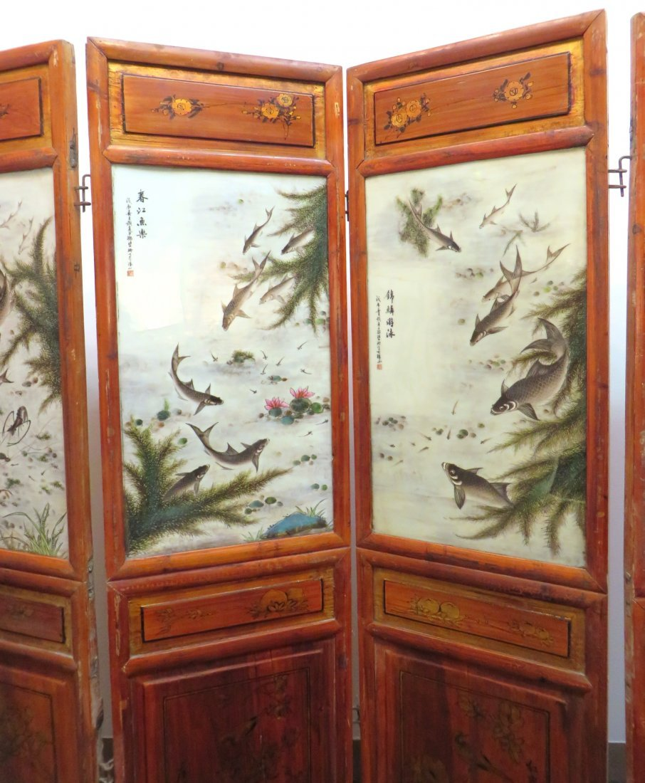 19TH C CHINESE FLOOR SCREEN WITH PORCELAIN PANELS - 4