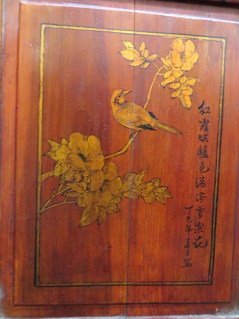 19TH C CHINESE FLOOR SCREEN WITH PORCELAIN PANELS - 7