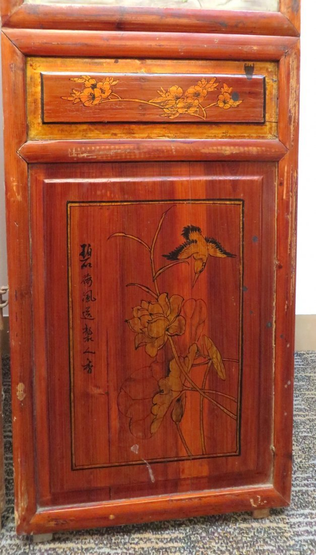 19TH C CHINESE FLOOR SCREEN WITH PORCELAIN PANELS - 8