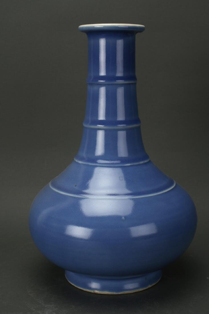 CHINESE QING DYNASTY MARKED BLUE GLAZED VASE